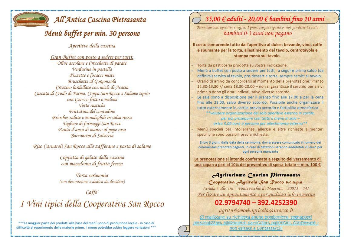 Menù Cerimonie Buffet/Apericena